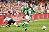 29th February 2020; Mestalla, Valencia, Spain; La Liga Football,Valencia versus Real Betis; Nabil Fekir of Real Betis drives forward after beating Jose Gaya of Valencia CF