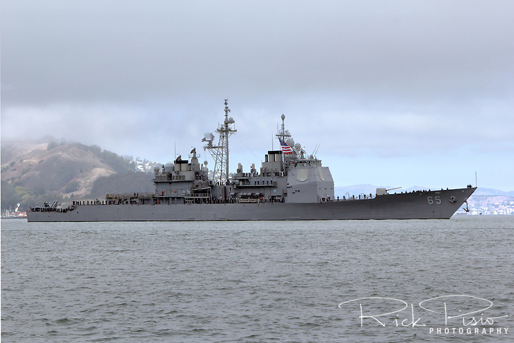 The Ticonderoga-class guided-missile cruiser USS Chosin (CG-65) enters San Francisco Bay in October of 2014. Commissioned in 1991 the Chosin  is named in honor of the Battle of Chosin Reservoir of the Korean War.