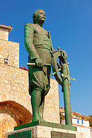 Statue of Admiral Andreas Miaoulis, leader of the fleet in the 1821 Greek Revolution of Indipendance, Hyrda,  Greek Saronic Islands