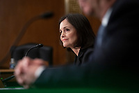 Judy Shelton, along with Dr. Christopher Waller, both nominated to be on the Board of Governors of the Federal Reserve System, testifies before the U.S. Senate Committee on Banking, Housing, and Urban Affairs at the United States Capitol in Washington D.C., U.S., on Thursday, February 13, 2020.<br /> <br /> Credit: Stefani Reynolds / CNP/AdMedia