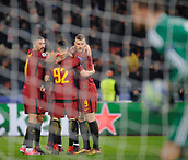 5th December 2017, Stadio Olimpic, Rome, Italy; UEFA Champions league football, AS Roma versus Qarabağ FK; Celebration from Roma players for the goal by Diego Perotti