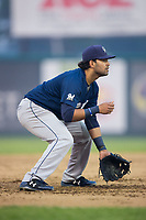 Helena Brewers third baseman Gabriel Garcia (4) on defense against the Great Falls Voyagers at Centene Stadium on August 18, 2017 in Helena, Montana.  The Voyagers defeated the Brewers 10-7.  (Brian Westerholt/Four Seam Images)