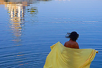 Holy man taken a bath in the Pushkar lake, Rajasthan, India