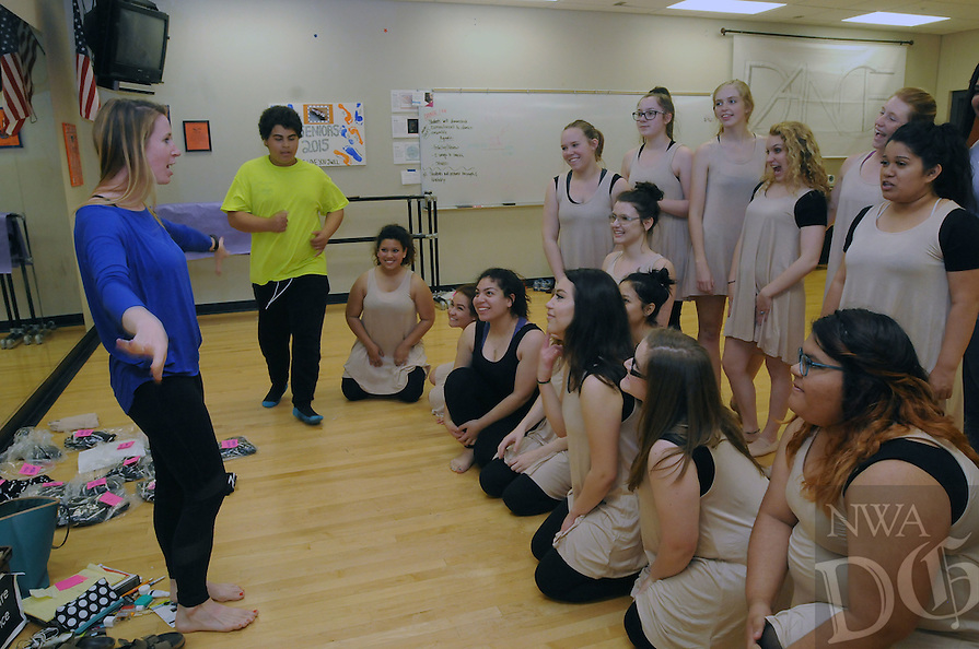 NWA Democrat-Gazette/FLIP PUTTHOFF <br /> ALL THAT DANCE<br /> Dance teacher Liz White (left), works during rehearsal with her students  Wednesday April 20 2016 at Rogers Heritage High School. Students in the Rogers Schools Theater Dance program are preparing for dance recitals April 30 and May 1 at Rogers High School auditorium, 2300 S. Dixieland Road. Shows are at 7 p.m., April 30 and 2 p.m., May 1. Tickets are $5 for adults and $3 for students. Profits go towards the theater dance program for purchase of costumes, equipment and other needs.