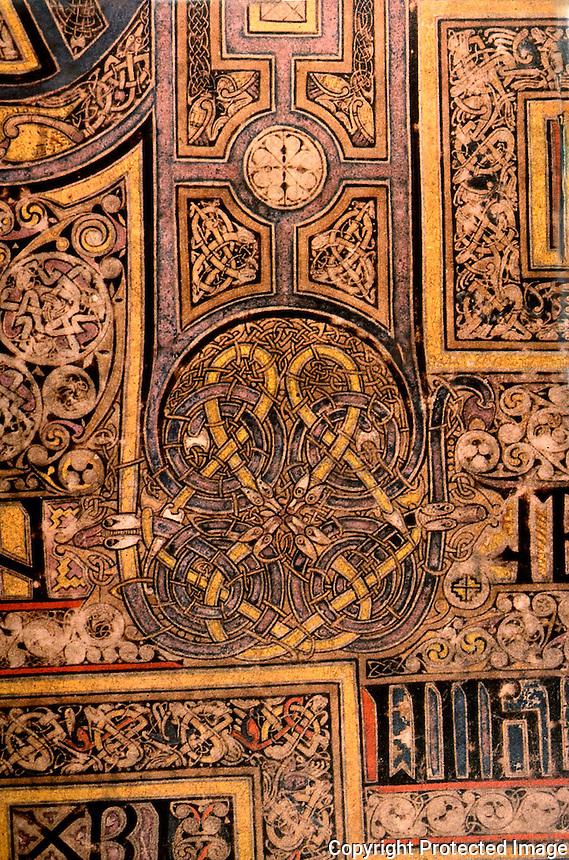 Visual Arts:  Book of Kells-- illuminated manuscript of Gospel Book in Latin.  On permanent display at the Trinity College Library, Dublin.  Photo '84.