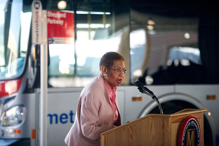 UNITED STATES - SEPTEMBER 28: Del. Eleanor Holmes Norton, D-D.C., speaks at the opening of the Shepherd Parkway Metrobus Division, a state-of-the art, environmentally-friendly bus facility in Southwest  Washington, D.C. Shepherd Parkway replaces the former Southeastern Metrobus Division and will house 114 Metrobuses. (Photo by Chris Maddaloni/CQ Roll Call)
