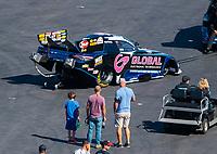 Oct 13, 2018; Concord, NC, USA; NHRA funny car driver Shawn Langdon during qualifying for the Carolina Nationals at zMax Dragway. Mandatory Credit: Mark J. Rebilas-USA TODAY Sports