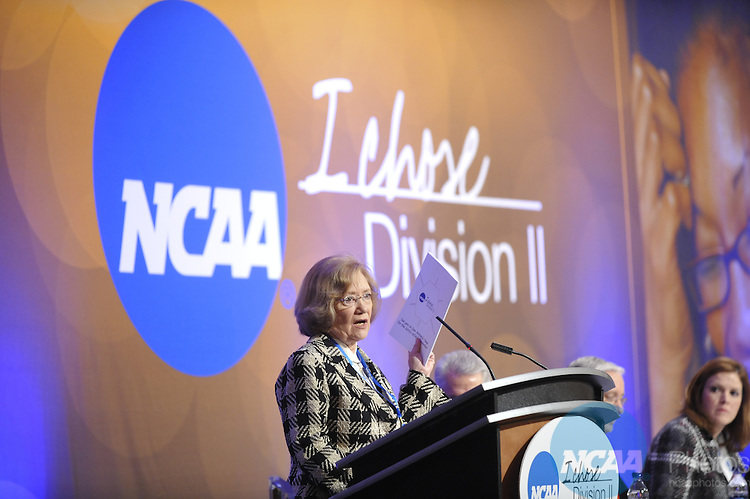 14 JAN 2010: The Division II Business Session at the 2010 NCAA Convention held at the Marriott Marquis and the Hyatt Regency in Atlanta, GA. Stephen Nowland/NCAA Photos.Pictured: Beverly Pitts.