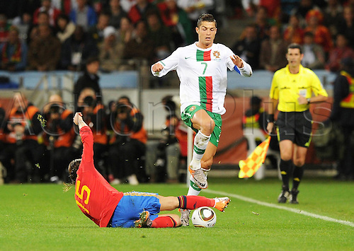 29 06 2010  FIFA World Cup, Spain v Portugal, Green Point stadium in Cape Town South Africa. June 29, 2010. Sergio Ramleft Spain against Cristiano Ronaldo right Portugal
