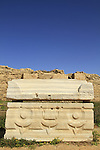 Roman sarcophagus in Caesarea National Park on Israel's central Mediterranean coast