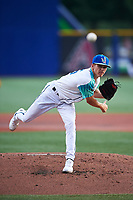 Los Lupulos de Hillsboro starting pitcher Drey Jameson (15) during a Northwest League game against the Boise Hawks at Ron Tonkin Field on August 29, 2019 in Hillsboro, Oregon. Boise defeated Hillsboro 4-3. (Zachary Lucy/Four Seam Images)