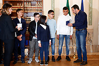 Matteo Salvini with Fabio, who tried to calm down the highjacked, Nicolo', who begged the highjacked to take him and relate his mates, Aurora, that, took as a hostage kept the calm, and Adam and Rami who phone the police whit an hidden mobile.<br /> Rome March 27th 2019. The Minister of internal affairs Matteo Salvini meets the students that were on the school bus that was hijacked last week in Crema. Two of the students, Rami and Adam, hailed as heroes for helping saving their classmates when they had been abducted by a Senegalese with Italian citizenship bus driver who tried to set fire to the school bus.<br /> photo di Samantha Zucchi/Insidefoto