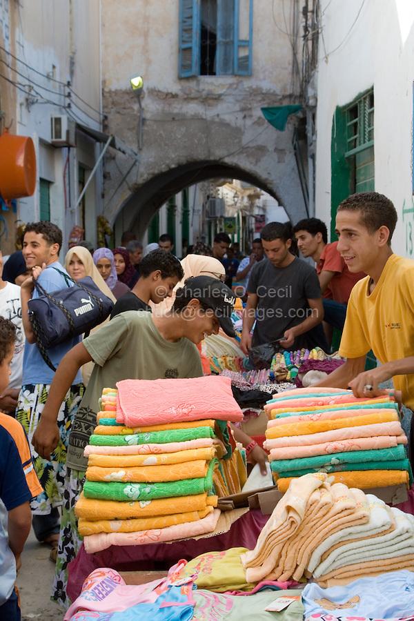 Tripoli, Libya - Medina Street Scene, Towel Salesman