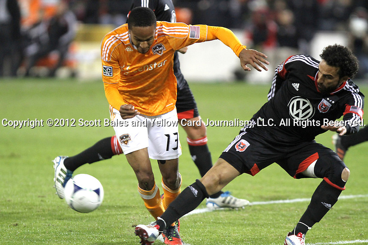 18 November 2012: Houston's Ricardo Clark (13) and DC's Dwayne De Rosario (CAN) (right). DC United tied the Houston Dynamo 1-1 at RFK Stadium in Washington, DC in the second leg of their 2012 MLS Cup Playoffs Eastern Conference Final series. Houston advanced to MLS Cup 2012 on aggregate goals, 4-2.