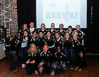 Abby XI (L to R) (back row) Lauren Cheney, Abby Wambach, Laura Kalmari, Jillian Loyden,  Tasha Kai, Amy LePeilbet, head coach Paul Riley, (middle row) Tina Ellertson, Hope Solo, Shannon Boxx, Karen Carney, Kelley O'Hara, Angie Kerr, Heather O'Reilly, Lori Lindsey, (front row) Cat Whitehill, Lori Chalupny, Eniola Aluko during the Women's Professional Soccer (WPS) All-Star Pick 'em Event at Stats in Atlanta, GA, on June 28, 2010.