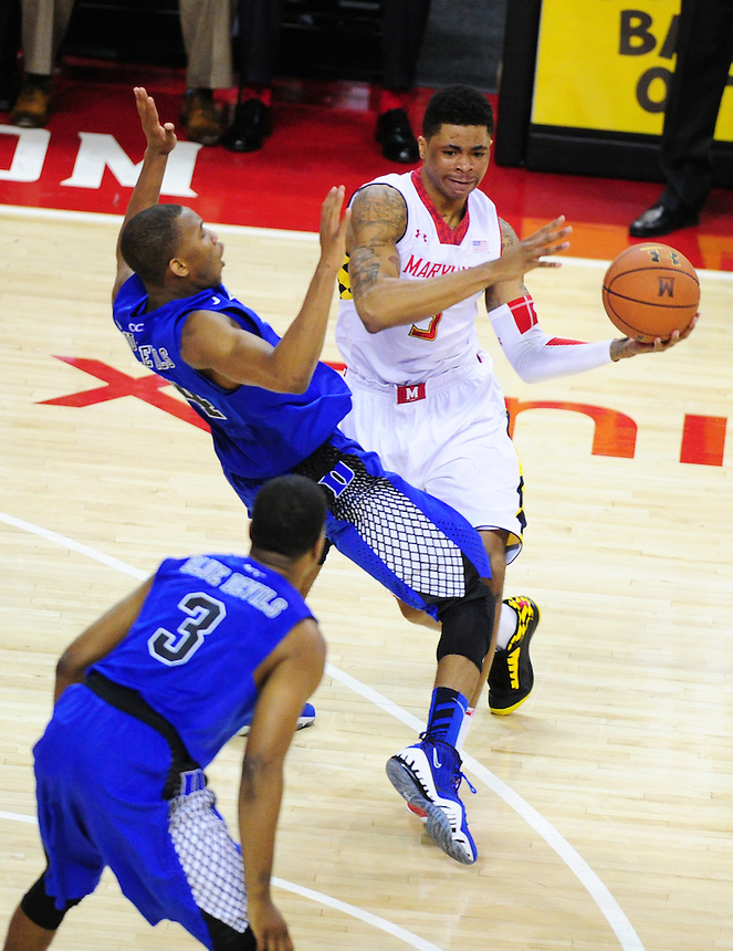 Nick Faust of the Terrapins is called for an offensive foul. Maryland defeated Duke 81-83 at the Comcast Center in College Park, MD on Saturday, February 16, 2013. Alan P. Santos/DC Sports Box