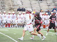 College Park, MD - April 15, 2018: Maryland Terrapins Connor Kelly (1) scores a goal during game between Rutgers and Maryland at  Capital One Field at Maryland Stadium in College Park, MD.  (Photo by Elliott Brown/Media Images International)