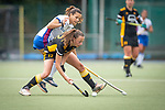 Mannheim, Germany, September 07: During the field hockey Bundesliga match between Mannheimer HC and Harvestehuder THC on September 7, 2019 at Am Neckarkanal in Mannheim, Germany. Final score 2-0. (Photo by Dirk Markgraf / www.265-images.com) *** Clara Badia Bogner #9 of Mannheimer HC, Fenja Poppe #12 of Harvestehuder THC