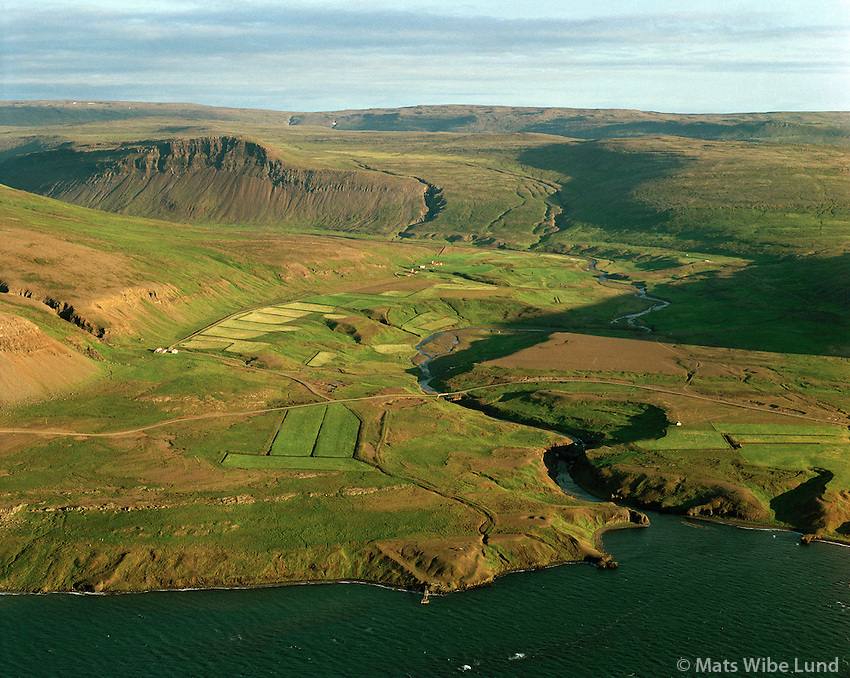 Tindar, Búðardalur og Barmur séð til suðurs, Dalabyggð áður Skarðshreppur / Tindar, Budardalur and Barmur viewing south, Dalabyggd former Skardshreppur.