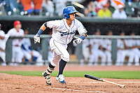Southern Division shortstop Jose Gomez (4) of the Asheville Tourists swings at a pitch during the South Atlantic League All Star Game at Spirit Communications Park on June 20, 2017 in Columbia, South Carolina. The game ended in a tie 3-3 after seven innings. (Tony Farlow/Four Seam Images)
