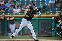 Jared Walsh (14) of the Salt Lake Bees bats against the El Paso Chihuahuas at Smith's Ballpark on August 14, 2018 in Salt Lake City, Utah. El Paso defeated Salt Lake 6-3. (Stephen Smith/Four Seam Images)