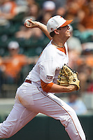 Texas Longhorns pitcher Travis Duke #27 delivers a pitch to the plate during the NCAA baseball game against the Oklahoma State Cowboys on April 26, 2014 at UFCU Disch–Falk Field in Austin, Texas. The Cowboys defeated the Longhorns 2-1. (Andrew Woolley/Four Seam Images)