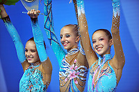 (L-R) Junior winners of team gold medal from Russia are:  Diana Borisova, Daria Svatkovskaya, Daria Lazarchuk at 2010 Pesaro World Cup on August 27, 2010 at Pesaro, Italy.  Photo by Tom Theobald.