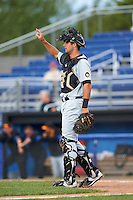 West Virginia Black Bears catcher Chris Harvey (10) during a game against the Batavia Muckdogs on August 21, 2016 at Dwyer Stadium in Batavia, New York.  West Virginia defeated Batavia 6-5.  (Mike Janes/Four Seam Images)