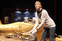 NO REPRO FEE. Tutankhamun: His Tomb and Treasures has arrived in Dublin at the RDS Industries Hall. Pictured is Nikolett Batyi putting the finishing touches to the exhibit. 'Tutankhamun - His Tomb and His Treasures' has already delighted over 1,700,000 visitors across Europe and will open on the 17 February at Dublin's RDS in the Industries Hall. The RDS is located on Merrion Road, Ballsbridge, Dublin 4. www.kingtutdublin.ie and www.ticketmaster.ie for further exhibition and ticket information. Picture James Horan/Collins Photos