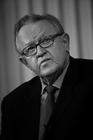 "The Norwegian Nobel Committe decided to award the Nobel Peace Prize for 2008 to Martti Ahtisaari (71) for  ""for his important efforts, on several continents and over more than three decades, to resolve international conflicts. These efforts have contributed to a more peaceful world and to ""fraternity between nations"" in Alfred Nobel?s spirit. "".Pictures taken during a press conference at the Nobel institute in Oslo, Norway, ahead of the award ceremony. .Martti Ahtisaari was flanked by  Director of the Nobel Institute Geir Lundestad and leader of the Nobel committee Ole D. Mjøs (right).."