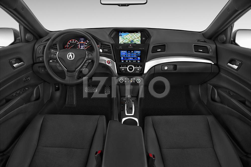 Stock photo of straight dashboard view of 2016-2017 Acura ilx Tech Plus A Spec 4 Door Sedan
