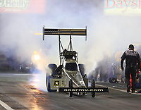 Apr 20, 2018; Baytown, TX, USA; NHRA top fuel driver Tony Schumacher during qualifying for the Springnationals at Royal Purple Raceway. Mandatory Credit: Mark J. Rebilas-USA TODAY Sports