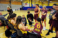 Action from the 2017 A Girls' Secondary Schools Basketball Premiership National Championship match between Aquinas College (navy and yellow) and Te Aroha College (maroon, pictured) at the B&M Centre in Palmerston North, New Zealand on Tuesday, 3 October 2017. Photo: Dave Lintott / lintottphoto.co.nz