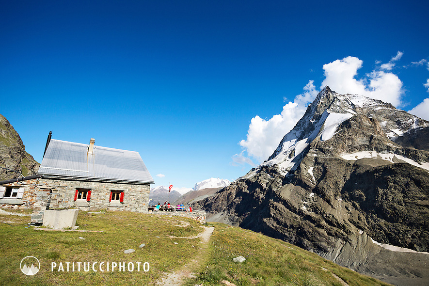 The Schonbiel Hut sits 12km from Zermatt and has stunning views of the Matterhorn and Monte Rosa, Switzerland