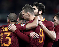 Calcio, Serie A: Roma vs Cagliari, Roma, stadio Olimpico, 22 gennaio 2017.<br /> Roma's Edin Dzeko, center, celebrates with teammates Bruno Peres, left, Federico Fazio, right, and Kevin Strootman, second from right, after scoring during the Italian Serie A football match between Roma and Cagliari at Rome's Olympic stadium, 22 January 2017. <br /> UPDATE IMAGES PRESS/Isabella Bonotto