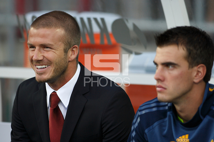 Los Angeles Galaxy midfielder (23) David Beckham sits next to goalkeeper (0) Steve Cronin prior to the start of an MLS regular season match against Toronto FC at BMO Field, Toronto, Ontario, Canada, on August 5, 2007.