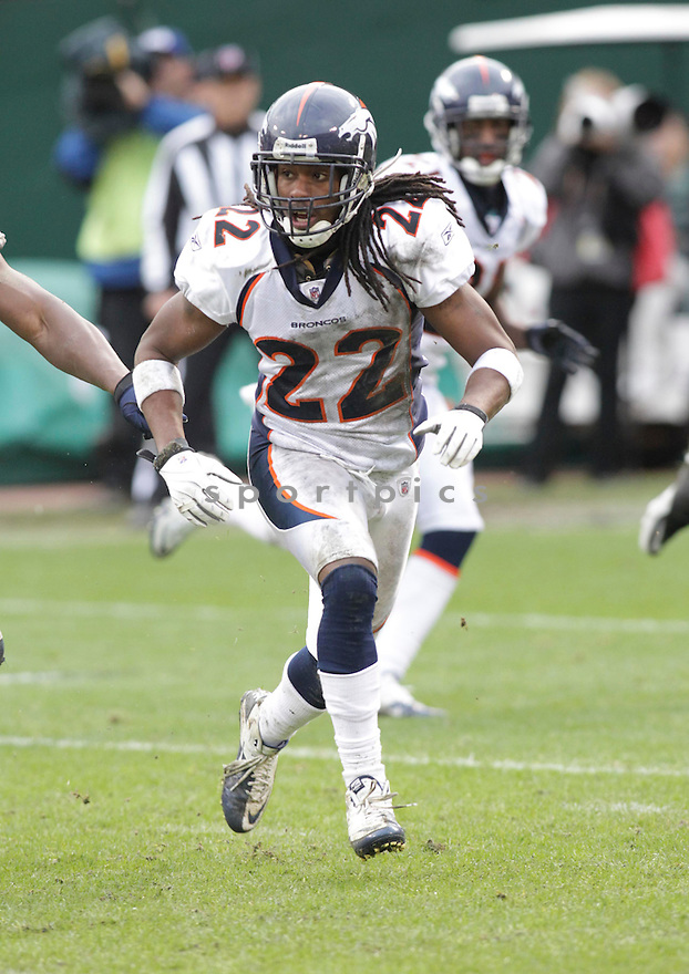 SYD'QUAN THOMPSON, of the Denver Broncos in action durIng the Broncos game against the Oakland Raiders at Oakland-Alameda County Coliseum in Oakland, California on December 19, 2010...Raiders beat the Broncos 39-23