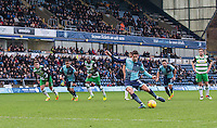Joe Jacobson of Wycombe Wanderers hits his penalty to equalise during the Sky Bet League 2 match between Wycombe Wanderers and Yeovil Town at Adams Park, High Wycombe, England on 14 January 2017. Photo by Andy Rowland / PRiME Media Images.