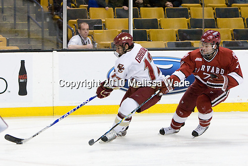Brian Gibbons (BC - 17), Chad Morin (Harvard - 7) - The Boston College Eagles defeated the Harvard University Crimson 6-0 on Monday, February 1, 2010, in the first round of the 2010 Beanpot at the TD Garden in Boston, Massachusetts.