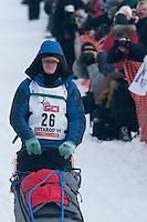 Musher # 26 Chad Lindner at the Restart of the 2009 Iditarod in Willow Alaska