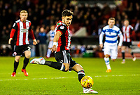 Sheffield United's defender George Baldock (2) fires over the bar during the Sky Bet Championship match between Sheff United and Queens Park Rangers at Bramall Lane, Sheffield, England on 20 February 2018. Photo by Stephen Buckley / PRiME Media Images.