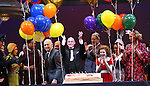 Charles Strouse, J. Elaine Marcos, Clarke Thorell, Anthony Warlow, Charles Strouse, Merwin Foard, Lilla Crawford, Jane Lynch & the cast from Broadway's iconic musical ANNIE celebrate creator Charles Strouse's 85th Birthday at The Palace Theatre in New York City on June 06, 2013.