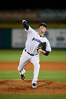 Pensacola Blue Wahoos Shrimp relief pitcher Nick Howard (33) delivers a pitch during a game against the Jacksonville Jumbo on August 15, 2018 at Blue Wahoos Stadium in Pensacola, Florida.  Jacksonville defeated Pensacola 9-2.  (Mike Janes/Four Seam Images)