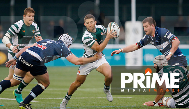 Ealing Trailfinders RFC evade the Bedford Blues RFC defence during the Greene King IPA Championship match between Ealing Trailfinders and Bedford Blues at Castle Bar , West Ealing , England  on 29 October 2016. Photo by Carlton Myrie / PRiME Media