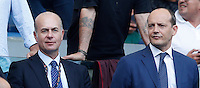 Calcio, Serie A: Roma vs Sampdoria. Roma, stadio Olimpico, 11 settembre 2016.<br /> Roma's new CEO Umberto Gandini, left, and general director Mauro Baldissoni wait for the start of the Italian Serie A football match between Roma and Sampdoria at Rome's Olympic stadium, 11 September 2016. Roma won 3-2.<br /> UPDATE IMAGES PRESS/Isabella Bonotto
