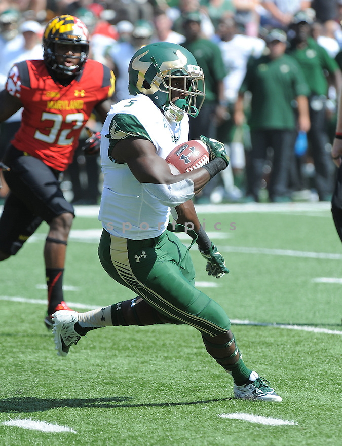 South Florida Bulls Marlon Mack (5) during a game against the Maryland Terrapins on September 19, 2015 at Byrd Stadium in College Park, MD. Maryland beat South Florida 35-17.