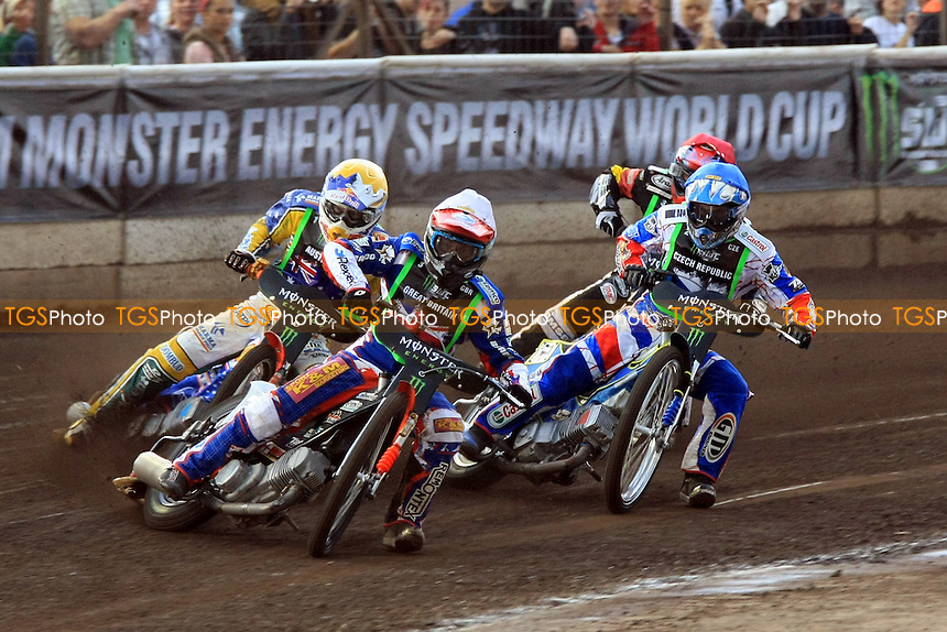 Heat 2, J.Crump(yellow),T.Woffinden(white),A.Dryml(blue),M.Dilger(red)- FIM Speedway World Cup Event Two at the Norfolk Arena, Kings Lynn - 09/07/12 - MANDATORY CREDIT: Rafal Wlosek/TGSPHOTO - Self billing applies where appropriate - 0845 094 6026 - contact@tgsphoto.co.uk - NO UNPAID USE.