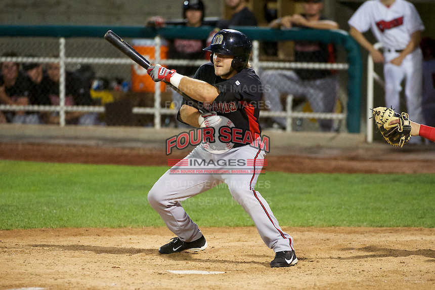 Jimmy Pickens (9) of the Billings Mustangs squares to bunt against the Orem Owlz at Home of the OWLZ on August 15, 2014 in Orem, Utah.  (Stephen Smith/Four Seam Images)