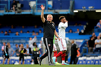 Sheffield United Manager, Chris Wilder waves at the Sheffield United Directors at the final whistle during Chelsea vs Sheffield United, Premier League Football at Stamford Bridge on 31st August 2019