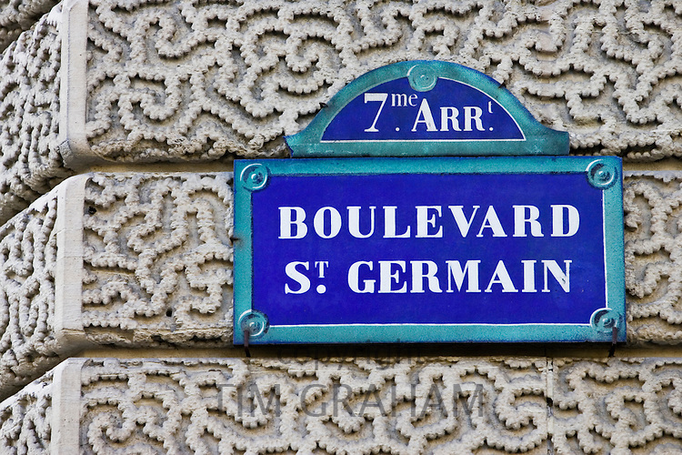 Boulevard St Germain street sign, Paris, France